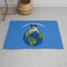 Save the world black and white cat Globus Rug