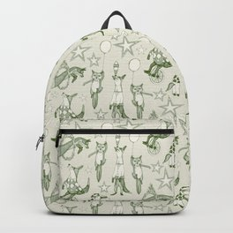 foxy circus green ivory Backpack