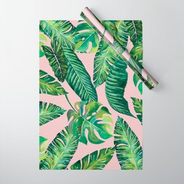 Jungle Leaves, Banana, Monstera Pink #society6 Wrapping Paper