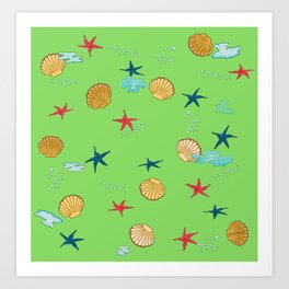 seashells and starfishes - green Art Print