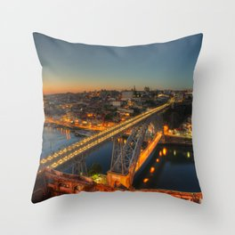 Porto twylight bridge Throw Pillow