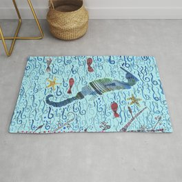 Cute underwater sea horse - blue background Rug
