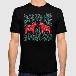 Swedish Dala Horses – Red & Mint Palette T-shirt