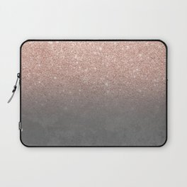 Rose gold glitter ombre grey cement concrete Laptop Sleeve