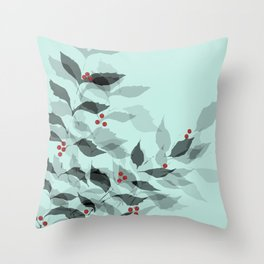 Leaves with Christmas Berries Throw Pillow