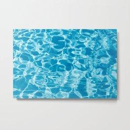 Geometric Pool Me - Retro Pool - Metal Print