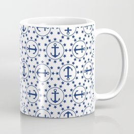 Navy Blue Anchors and Stars Nautical Pattern Coffee Mug