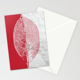 Natural Outlines - Leaf Red & White Marble #930 Stationery Cards