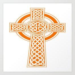 St Patrick's Day Celtic Cross Orange and White Art Print