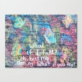 Chalk art butterflies Canvas Print