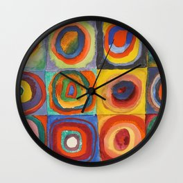 COLOR STUDY, SQUARES WITH CONCENTRIC CIRCLES - WASSILY KANDINSKY Wall Clock