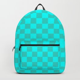 Cyan and Turquoise Checkerboard Backpack