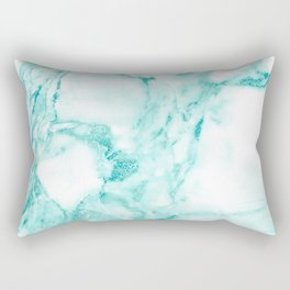 Teal Mermaid Glitter Marble Rectangular Pillow