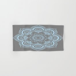 Mandala Flower Gray & Baby Blue Hand & Bath Towel