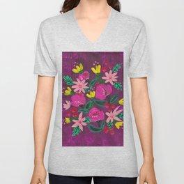 Magenta Blooms Unisex V-Neck