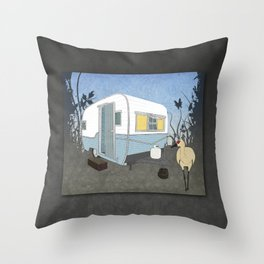 Travel Trailer Sandhill Crane Throw Pillow