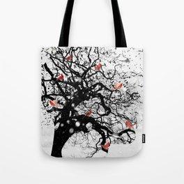 Red Birds in Snow by GEN Z Tote Bag