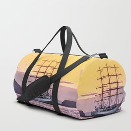 Frigate at sunset Duffle Bag