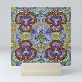 Passion Petals Retro Groovy Kaleidescope Psychedelica Print Mini Art Print