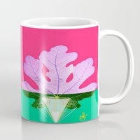 half life Mugs featuring Fig Leaf Diamond Christmas Half and Half  by ANoelleJay
