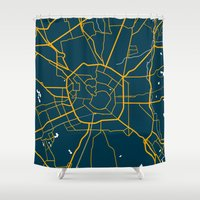 milan Shower Curtains featuring Milan Italy Map by Studio Tesouro