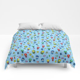 Cool Video Game 8-Bit Heroes Vintage Gamer Gaming Collection Comforters