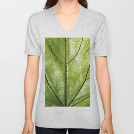 TROPICAL GREEN LEAF WITH  DARK VEINS DESIGN ART Unisex V-Neck