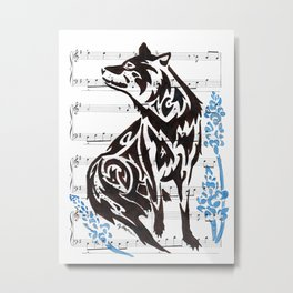 Waiting For Moonlight  (Wolf and Lupine flowers on sheet music) Metal Print