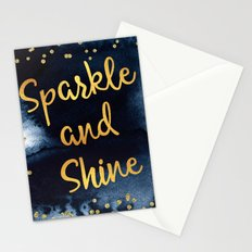 Sparkle And Shine Gold And Black Ink Typography Art Stationery Cards
