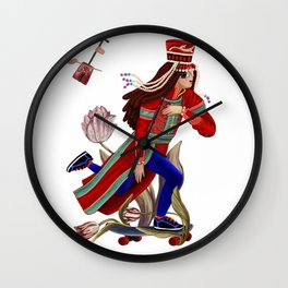 Mongolian lady on skate Wall Clock