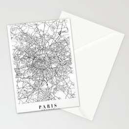 Paris France Street Map Minimal Stationery Cards