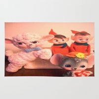 pixies Area & Throw Rugs featuring Pixies gathers with lamb and mouse by Vintage  Cuteness