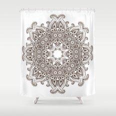 Mandala Bohemian Embellishments Decor Medallion Black On White Shower  Curtain