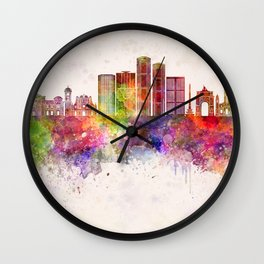 Caracas V2 skyline in watercolor background Wall Clock