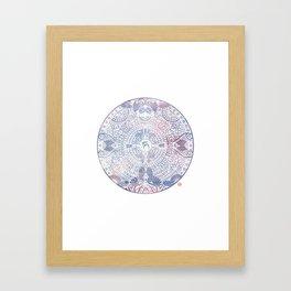 deer mandala (white) Framed Art Print