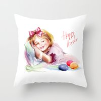 easter Throw Pillows featuring Easter by tatiana-teni