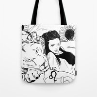 leo Tote Bags featuring Leo by Cassandra Jean