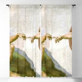 The Creation of Adam Painting by Michelangelo Sistine Chapel Blackout Curtain
