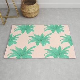 Trendy Tropical Green Plants Foliage Modern Design Rug