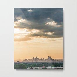 Downtown Denver // Vast Orange Yellow Sunset Sky Blue Clouds Skyline Metal Print