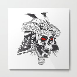 black and white samurai helmet with skull Metal Print