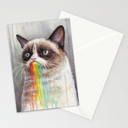 Cat Tastes the Grumpy Rainbow Stationery Cards