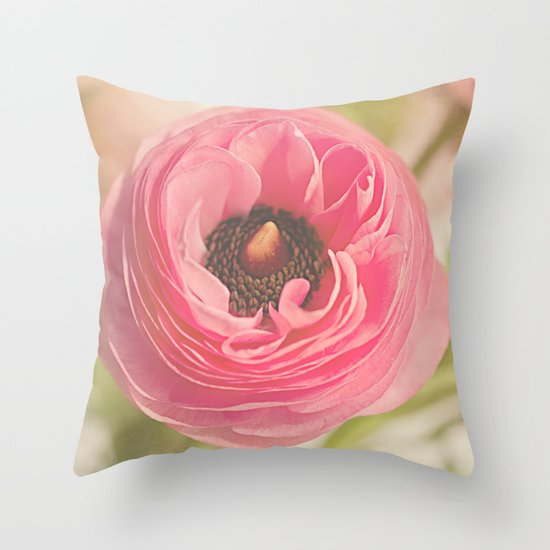 The Pretty Pink Ranunculus Throw Pillow
