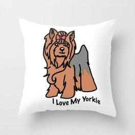 I Love My Yorkie Kawaii Throw Pillow