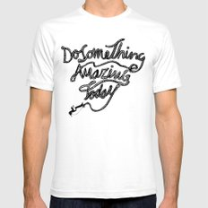 DO SOMETHING AMAZING TODAY SMALL Mens Fitted Tee White