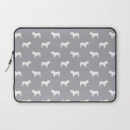 English Bulldog pattern grey and white minimal modern dog art bulldogs silhouette Laptop Sleeve