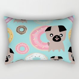 Pug and donuts blue Rectangular Pillow