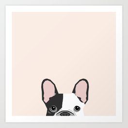 French Bulldog peeking cute black and white frenchie must have dog mom pet lover gifts Art Print