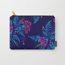 Ferns and Parrot Tulips - Blue Pink Carry-All Pouch