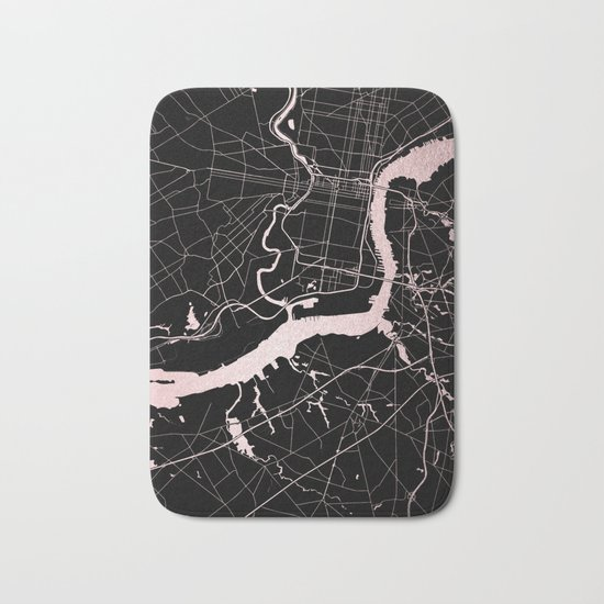 Philadelphia - Black and Rose Gold Bath Mat